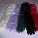 Women's white satin shirred formal gloves,elbow lgth.one size fits most