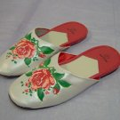 House slippers,white w/rose design,size 5,6,7,8,9,10,4.99/pr, 3pr/10.00