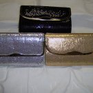 """ladies evening or dress mesh bags,shoulder chain strap or use as clutch, 6"""" x 9"""", 12 colors"""