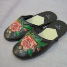 ladies house slippers,bk w/floral design, 5,6,7,8,9,10, 3prs/10.00