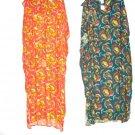ladies casual dresses in orange,green w/designs,free size