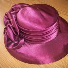Ladies beautiful burgundy poly woven satiny feel cloth hat