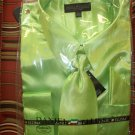 satin shirt/tie/hankie for adult male (lime)  16.5 x34/35