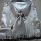 satin shirt sets for adult male (silver) w/tie & hankie, size18.5 x36/37