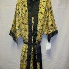 Women's 2pc shorty gown set w/tie belt ,gold w/bk design & trim, size xl