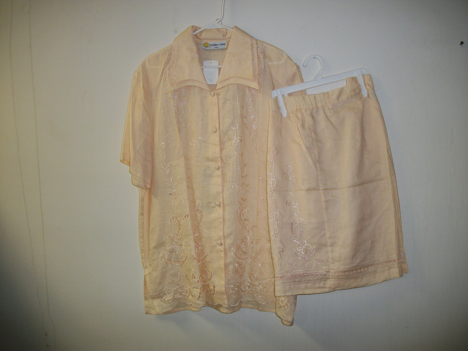 100% linen gold short sets for female, embroidery w/knee length shorts