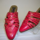 man made material red slip on shoe with open heel and closed toe w/studs for ladies, size 11m