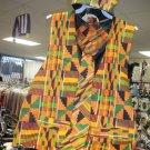male vest,kuphi,tie & hankie set,2xl,3xl vest in kente print of orange/blue/green