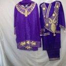 male/female ethnic pant/skirt sets, 100% rayon, purple w/gold embroidery, kuphi/scarl, free size