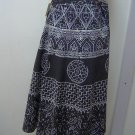 wrap skirt,black background w/ivory or white print design,one size