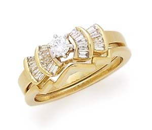14k  17ct Rd Ctr With Bgt Diamond Bridal Set -  Retail  $1354.95