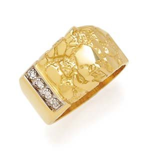 14k Gents Nugget Diamond Ring  -  Retails  $314.95