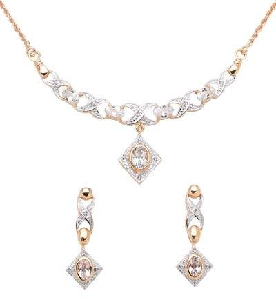 White Topaz & Diamond Necklace And Earring Set  Retail  $345.95