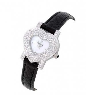 Croton Womens Crystal Heart White Dial Watch  -  Retail  $200.00