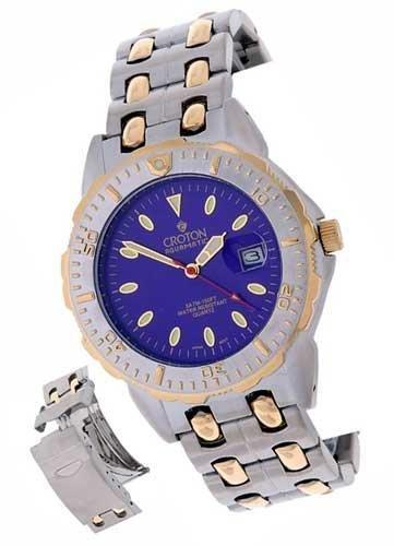 Croton Mens Blue Dial Goldtone Sport Watch  -  Retail  $247.00