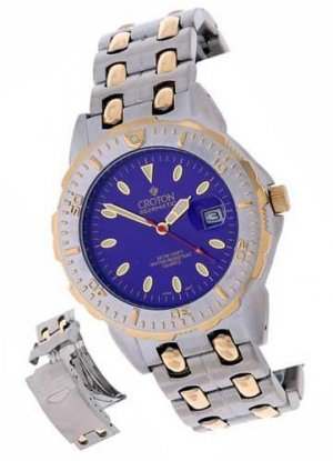 Croton Mens Blue Dial Goldtone Sport Watch  -  Retail  $247.00