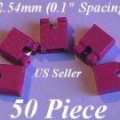 "50 x 2.54mm Jumpers Hard Drive Shunts Headers Computer IDE/CD 0.1"" Mini 2-pin RED"