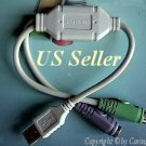 PS2 to USB Male Adapter Port Dual 1FT Cable Corded Keyboard Mouse ★