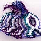 9 Large Variegated Fish Decorations in Green, Purple, Blue