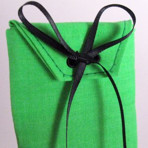 Electric Green Fabric Gift Card Wrap Black Ribbon