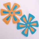 Die Cut Flowers in Turquoise and Goldenrod