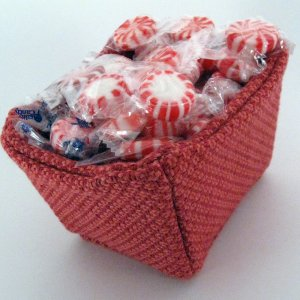 Chunky Fabric Gift Basket in Red Orange