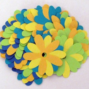 20 Colorful Recycled Paper Flower Embellishments for Crafting