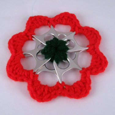 Red and Green Recycled Can Tab Christmas Flower Ornament