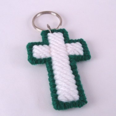 Cross Key Ring in Green and White