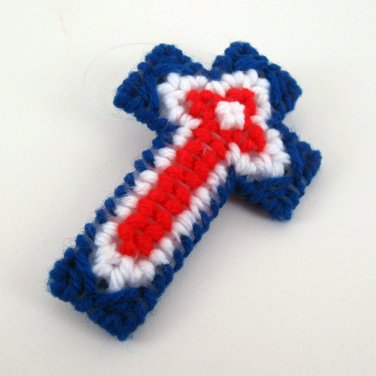 Patriotic Red White Blue Christian Christmas Cross Ornament