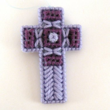 Lavender Purple Easter Christmas Cross Ornament
