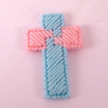 Handmade Double Sided Card Trick Cross Ornament