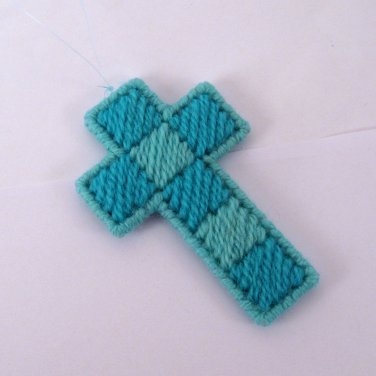 Handmade Checkered Cross turquoise blue ornament
