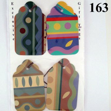 Handmade Rescued Wallpaper Gift Tag Set Geometric Colorful