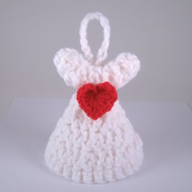 Handmade Crocheted Valentines Day Angels red white