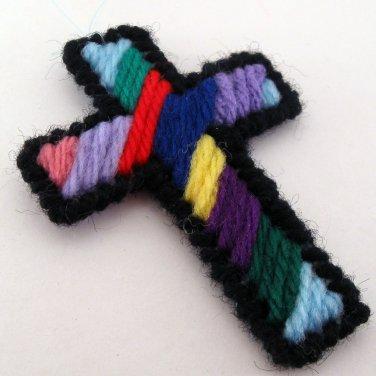 Multicolored Christian Cross Ornament
