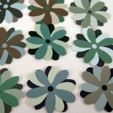 Blue Green Recycled Paint Sample Flowers for Crafting