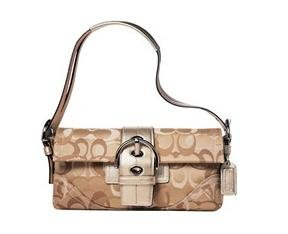 COACH Soho Optic Signature Flap Purse NWT Silver/Khaki *PLUS BONUS CASH BACK!*