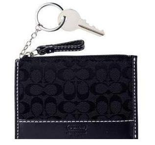COACH Soho Signature Mini Skinny Wallet KeyChain NWT Black *PLUS BONUS CASH BACK!*