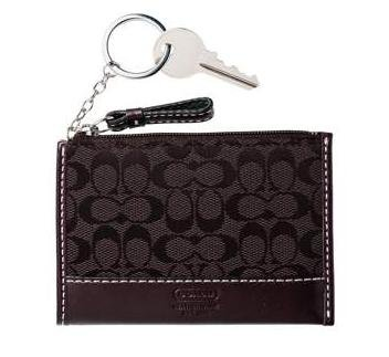 COACH Soho Signature Mini Skinny Wallet KeyChain NWT Dark Brown *PLUS BONUS CASH BACK!*