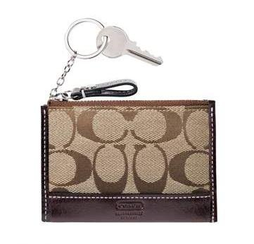 Coach Hamptons Signature Mini Skinny Wallet NWT Khaki/Chestnut *PLUS BONUS CASH BACK!*