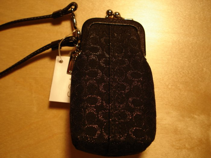 COACH Lurex Signature Lipstick Case Wristlet NWT Black *PLUS BONUS CASH BACK!*