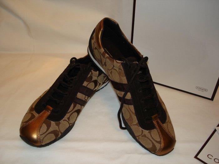 COACH Kate Signature Sneaker Shoes NEW Khaki Bronze Brown