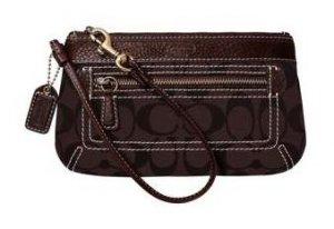 COACH Signature Duffle Wristlet Bag Case NWT Dark Brown 40257