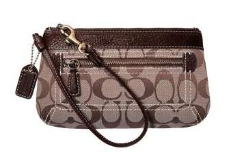COACH Signature Duffle Wristlet Bag Case NWT Khaki/Chestnut 40257 *PLUS BONUS CASH BACK!*