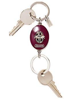COACH Turnlock Valet Keyfob #92093 NWT Silver & Lavender