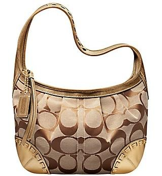 Coach Ergo Signature Pleated Hobo Purse Handbag NWT Brass/Khaki/Bronze *PLUS BONUS CASH BACK!*
