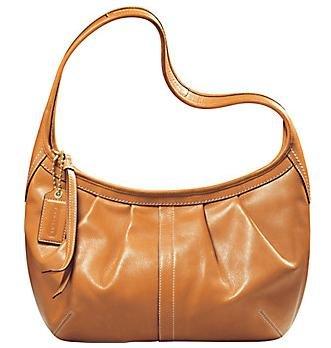 Coach Ergo Signature Pleated Hobo Purse Handbag NWT Brass/Natural #12235
