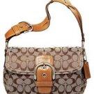 Coach Soho Signature Pocket Flap Purse Handbag NWT Khaki/Camel #11862