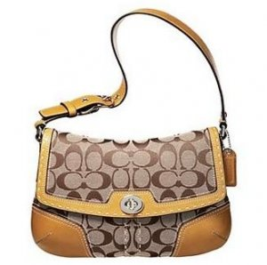 Coach Hamptons Signature Small Flap Purse Handbag NWT Khaki/Camel #11574